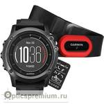 Спортивный GPS навигатор Garmin Fenix 3 Sapphire HR Серый с черным силиконовым браслетом HRM-Run