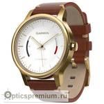 Спортивные часы с трекером активности Garmin VivoMove Premium (золотистые, стальной корпус, кожаный ремешок)